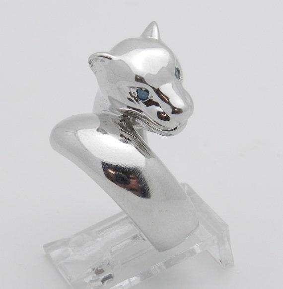 18K White Gold Blue Diamond Cat Panther Wrap Around Ring Size 7