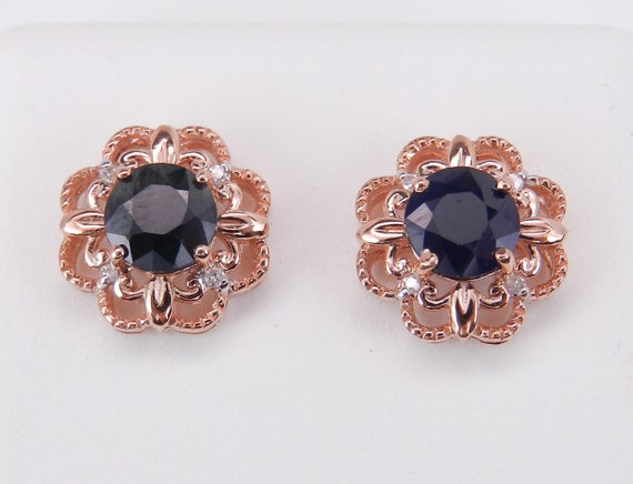 Sapphire and Diamond Stud Earrings Halo Flower Studs Rose Pink Gold Wedding Gift
