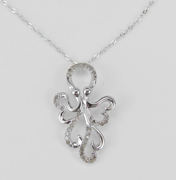 "Diamond Octopus Pendant White Gold Squid Necklace Chain 17"" Wedding Gift"