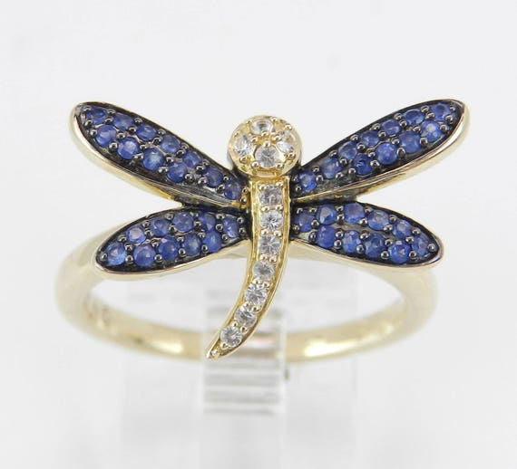 14K Yellow Gold Sapphire Dragonfly Ring Unique Fashion Design Size 7