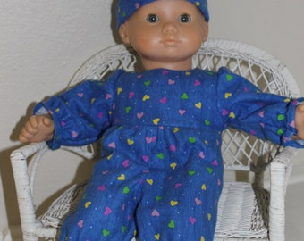 Bitty Baby hearts pajamas and hat