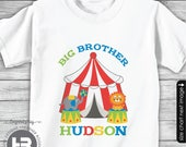 Circus Birthday Big Brother Shirt or Bodysuit - Monogrammed Carnival Birthday Shirt