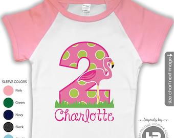 Flamingo Birthday Shirt or Bodysuit - PINK sleeve RAGLAN - Personalized Flamingo Birthday Shirt - ANY Age - Monogram Flamingo Party Shirt