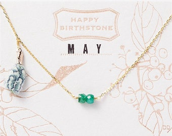 May Birthstone Necklace : Emerald with Liberty Tassel