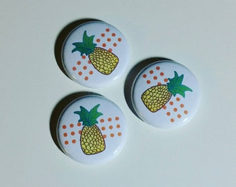 Pineapple 1 inch pinback button set of 3