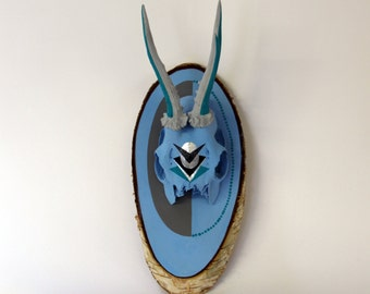 BLUE & GREY ANTLERS bright asymmetric geometric aztec navajo arrow painted deer skull taxidermy head modern natural xmas wall art decor gift