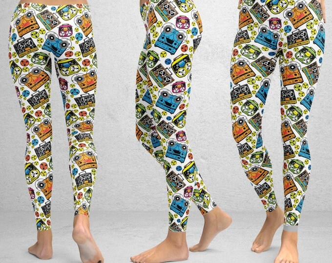 Tape Player Pajama Print Leggings