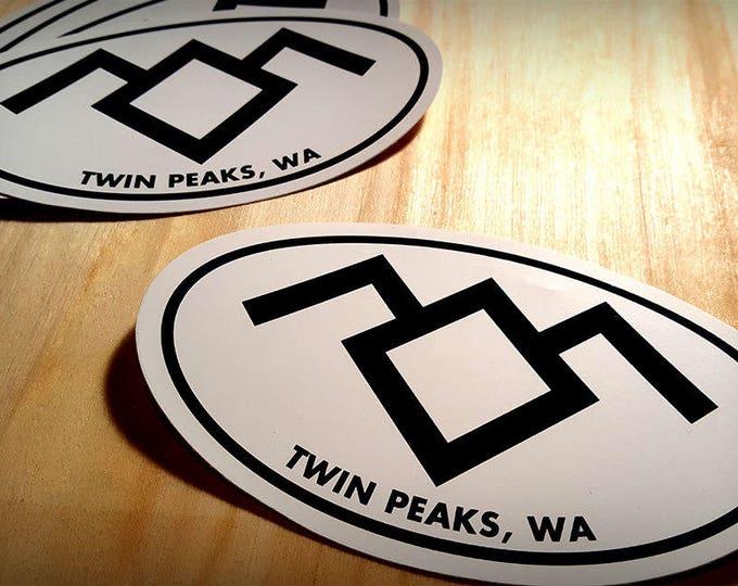 Twin Peaks Sticker Party Pack, 25 or 50 Qty. Black Lodge Sticker, Oval 4x3 Travel Sticker