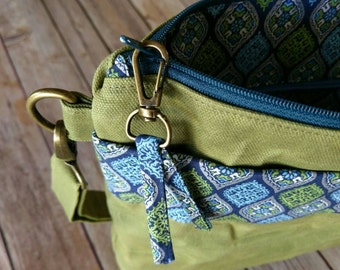 Waxed Canvas Crossbody Bag   Green Canvas Bag   Moroccan Tile print   Custom Design   Made to Order   Pick your own design
