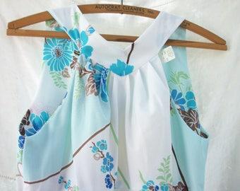 Malihini Hawaii ~ Hawaiian Dress / Maxi ~ Full Length ~Vintage 1960's 1970's era ~ Tropical 2 piece ~ White with Blues & Greens