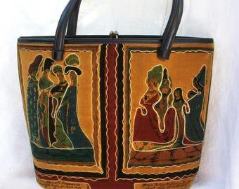 Vintage Renaissance Styled Fabric Purse ~ Velvet Texture  ~ Beautiful design