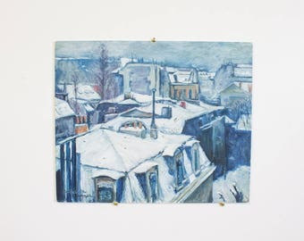Vintage Painting, Study of Gustave Caillebotte's Rooftops in the Snow