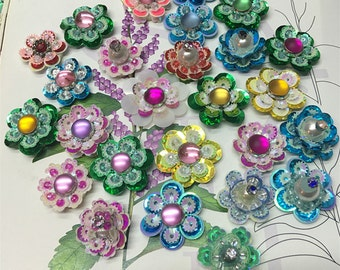 6pcs 2-2.5cm wide Rhinestones sequins beads flower appliques patches brooch ZR46TW115SX free ship