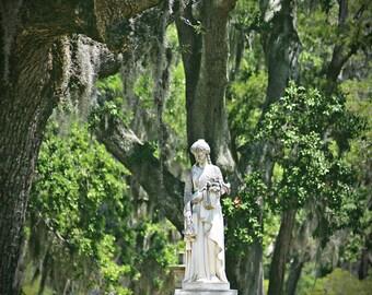 Bonaventure Cemetery, Savannah GA, Fine Art Photograph, Old South, Southern, Oak Trees, Moss covered Oak Trees, Midnight in the Garden Art