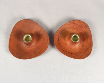 Laurids Lonborg, Lønborg, candle holders, teak, Danish modern, tiny taper, wafer thin, Denmark