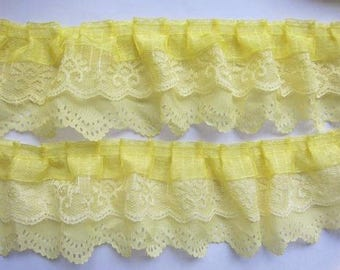 3-layer ruffled Lace Trim Gathered yellow  selling by the yard