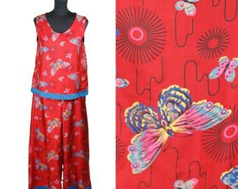 1920s Pajamas // Red Butterfly Novelty Print Silk Lounge Pajamas