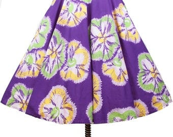 1950s Skirt // Bright Purple Batik Tie Dye Tropical Circle Skirt