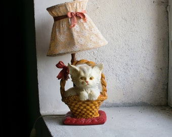 Vintage French Lamp  // 1960 Kitsch Cat Lamp // Ugly Cute Kawaii Kitten Bedside Lamp