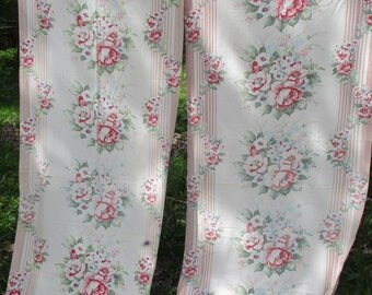 VINTAGE BARKCLOTH 10 Pink Roses Bouquets and Stripes Pair Curtains Panels Nubby Texture Fabric Cottage Chic 32 x 79