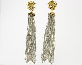 Long Tassel Earrings, Silver Gold Chain Dangle Earrings, Tribal Post Mixed Metal Earrings  EC1-26