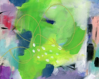Modern Art, Original abstract Painting, green, gold, dotted, Fine Art, Nature, wrapped canvas