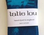 Christmas Gifts - Shibori Indigo/Turquoise Stripe Dyed Cotton Over The Knee Socks