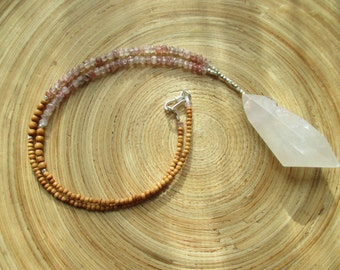 "SALE Crystal quartz drop necklace lepidocrocite and aromatic sandalwood beads / 18"" necklace"