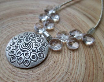 Sale! Spiral lotus and crystal clear quartz necklace Hill Tribe fine silver lotus pendant and perfect natural quartz briolettes sparkly ligh