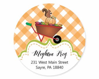 Squirrel Fall Wheelbarrow Personalized Address Labels Stickers / Happy Fall / Autumn