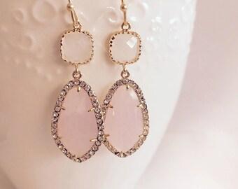 Blush Pink Earrings, Rose Quartz Birthstone, Wedding, Bridal Jewelry, Gold Filled Dangle Tear Drop Earrings, Bridesmaids Gift, Prom Earrings