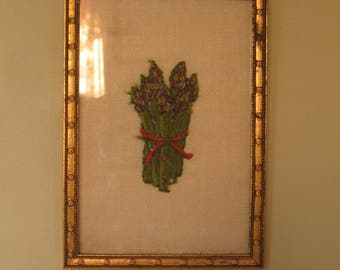 French Country Style Vintage 1920's - 1940's Gold Leaf Frame with Vintage Needlework Asparagus Bunch
