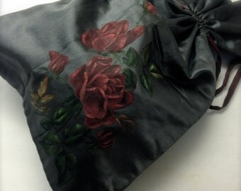Big Sale Vintage Satin Pouch, Hand Painted Roses