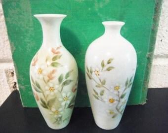 Delicate miniature vases urns dollhouse  porcelain hand painted floral mid century vintage