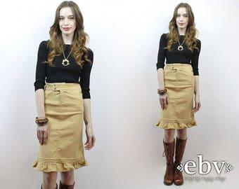 Khaki Cord Skirt Corduroy Skirt High Waisted Skirt High Waist Skirt Ruffled Skirt Ruffle Skirt Pencil Skirt 90s Skirt Lands End Skirt XXS