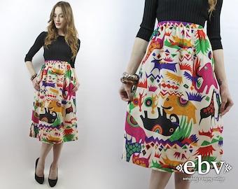 Zoo Animals Skirt Novelty Print Skirt Midi Skirt Summer Skirt High Waisted Skirt Elephant Skirt Animal Print Colorful Skirt White Skirt L