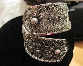 Vintage Vargas Silver Base Metal Flower Cuff Bracelet