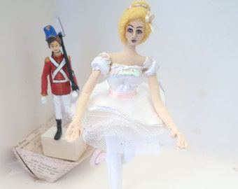 Steadfast Soldier and Ballerina art cloth doll fimo clay figurine fairytale sculpture vintage style nursery decor