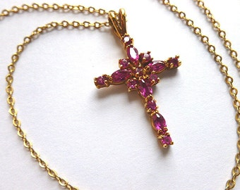 Fab Faux Ruby Designer Cross, 14KGold Electroplate Simulated Ruby Cross Pendant, Faux Gemstone Cross Pendant with Neck Chain, Love Cross