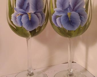 Hand painted wine glass, wedding, birthday, anniversary, Mother's Day. gift, iris glass.  Set of two glasses.
