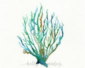 No. 11 Sea Coral  / Teal / Aqua / Yellow Ochre / Watercolor