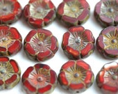 12mm Dark Red Pansy flower bead, Picasso Czech glass fire polished Flowers, table cut Daisy, Rustic floral beads - 6pc - 0418