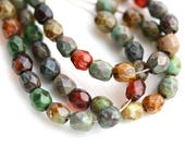 4mm Rustic Picasso beads mix, Czech glass fire polished round spacers, earthy colored - 50Pc - 1650