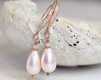 RESERVED for LAUREN - Pink Pearl Earrings - Bridal Earrings - Rose Gold Earrings with Rose Quartz - Bridal Jewelry - Pearl Jewelry