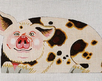Hand Painted Needlepoint Pig canvas - front only