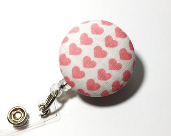 Pink heart Valentine's Day Name badge Retractable Badge Reel badge reel nurse badge reel badge holder id badge holder nurse badge clip