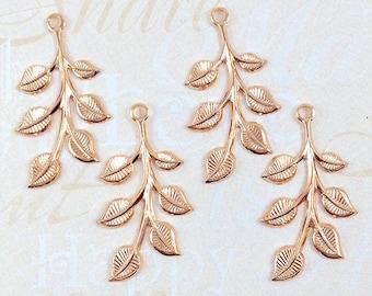 Rose Gold Leaves, Brass Leaf, Leaf Stamping, Brass Finding, Left Facing 20mm x 37mm - 4 pcs. (rg187)