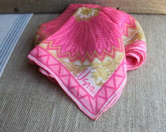 A beautiful vintage pink and gold  Vera Neumann scarf