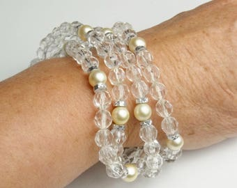 Vintage Four Strand Faux Pearls & Crystals 1970's Costume Jewelry Bracelet Gift For Her on Etsy