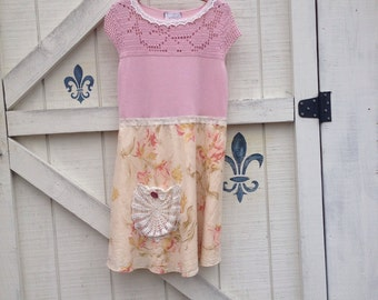 Romantic dres, spring dress, pink cream, pink romantic rose, lace trimmed, Eco upcycled clothing